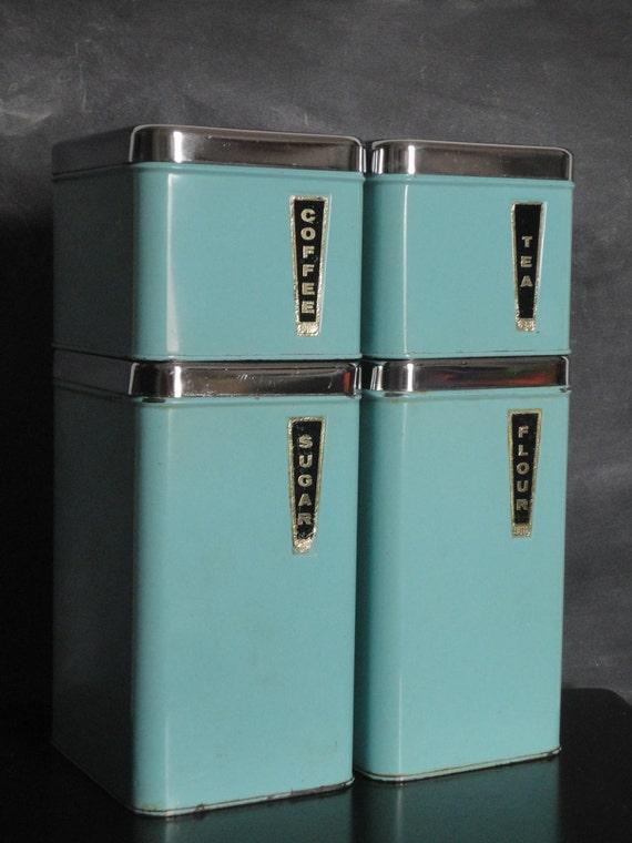 Vintage mid century metal kitchen canister set turquoise blue for Blue kitchen set