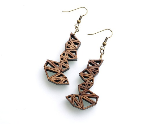 geometric eco friendly dangle earrings - Bamboo Triangle Cluster Earrings.  modern wood jewelry