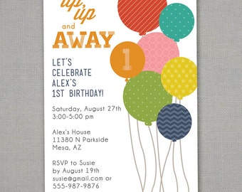 Modern Balloons Birthday Invitation