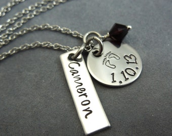 Personalized new mommy necklace hand stamped stainless steel