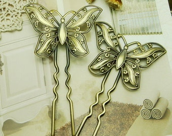 4Pcs Antique Bronze Butterfly Hair Fork,90mm