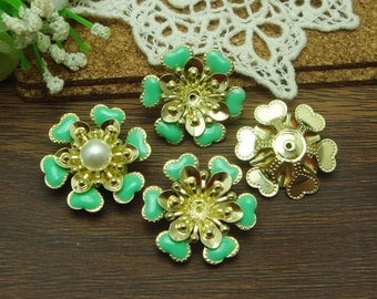 10pcs(20mm)  Gold Plated Hand Made Resin Glossy Bead Cap,Green