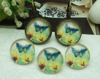 10pcs (12mm ) Handmade Photo Glass Cabochons -Butterfly  (B1254)