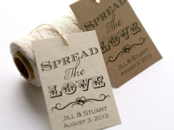 Wedding Favour Gift Tags: Printable Spread The Love Tags DIY Wedding By EventPrintables