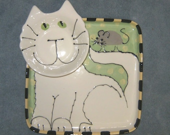 White Cat Chip and Dip Tray