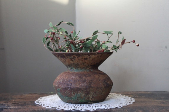 Antique Cast Iron and Enamel Spittoon