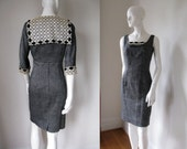 RESERVED Vintage 50s Wiggle Dress and Bolero Jacket with Eyelet Lace Bust 35