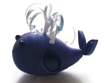 Whale Ornament Baby Nursery Paper Quilled Whale decoration in Royal Dark Blue