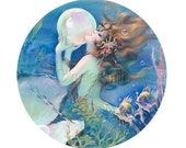 Digital Collage sheet - 2.5 inch circle, mermaid with pearl, fish, undersea, pocket mirror, art, magnets, crafts, round 013265