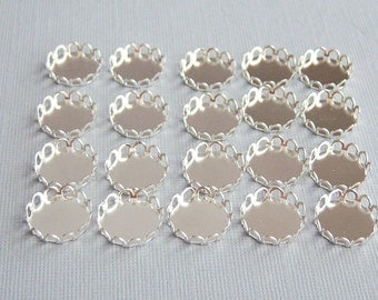 12/12mm  Silver Brass Lace Settings, Round