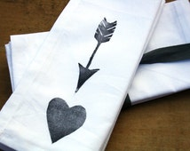 Cloth Dinner Napkins Heart and Arrow set of 8 block printed napkins