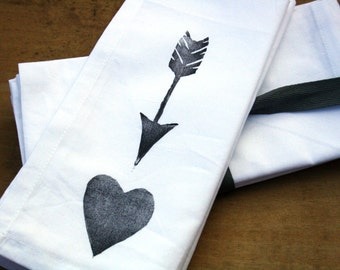 Cloth Dinner Napkins Heart and Arrow set of 8 block printed napkins