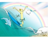 Surfer riding wave in the buff, all occasion greeting card, 5x7, recycled paper, Free Shipping