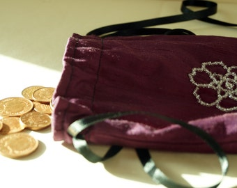 Regency Victorian Purple Silk Reticule Purse. Historical Purse Glass Beaded bag