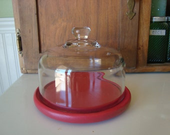 Glass Cloche - Wood Serving Dish  - Painted Cottage Red - Shabby Chic  - Farmhouse - French Country Decor