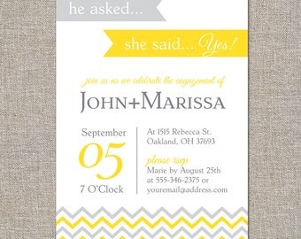 engagement party invitation - she said yes - DIY printable file by YellowBrickStudio
