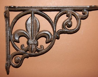 6, Shelf brackets, Fleur De Lis, Cast Iron Shelf brackets, frech, decorative shelf brackets, christmas gift, husband gift, B-3