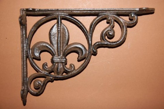 8, Solid Cast Iron Shelf Brackets, Fleur De Lis, Shelf