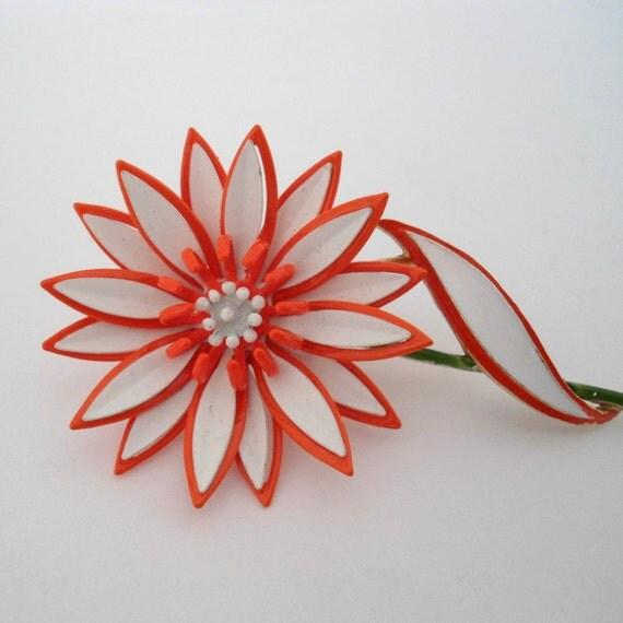 Vintage Orange Metal Flower Brooch/ Trifari Flower Brooch