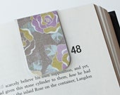 Magnetic Bookmark Laminated Purple Cream Flowers Unique Ready To Ship