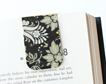 Magnetic Bookmark Laminated Black Gray Yellow Flowers Unique Ready To Ship
