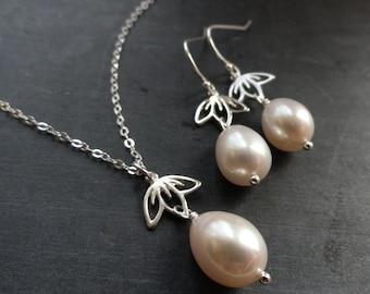 Freshwater pearl necklace & earring SET, sterlnig silver or gold filled, lotus, cherry blossom, sakura, bridal jewelry, weddings, Otis B