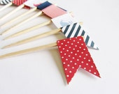 Baby Shower Cupcake Toppers - Flags in NAVY and RED - Whale  - Shower Decorations - Set of 12