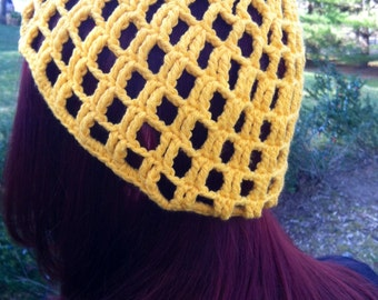 Slouchy canary yellow summer hat