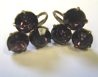 Vintage  Royal Purple Amethyst Rhinestone Clover Screw Back Earrings,  Purple Non Pierced Earrings