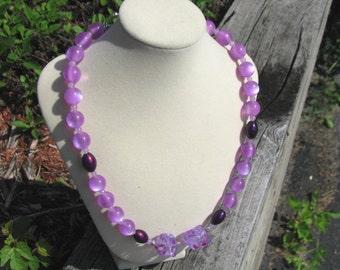 Purple Lavender Moon Glow Beaded Necklace, Purple Lavender Vintage Inspired Beaded Necklace
