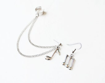 Silver Music Note Chain Ear Cuff Earrings (Pair)