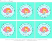 UNDER THE SEA Mermaid Party Girl Birthday Thank you favor tags - As Seen on Hostess with the Mostess
