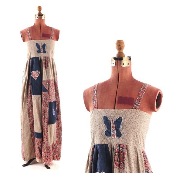 Vintage 1960's Hippie Empire Waist Cotton Bohemian PATCHWORK Sun Dress S