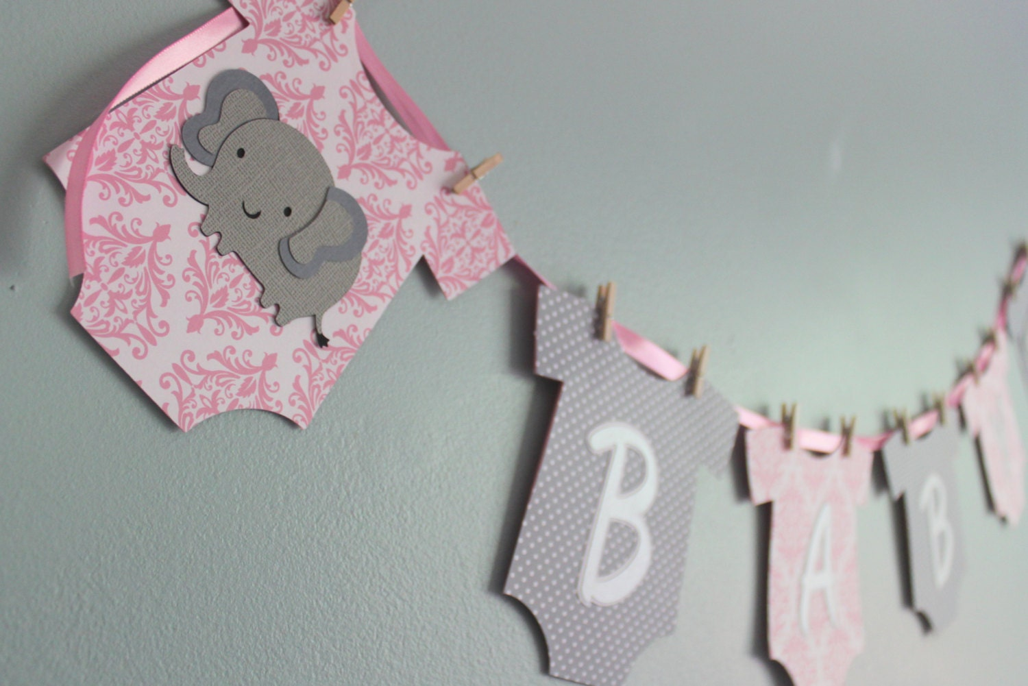 Elephant Baby Shower Banner it's a girl pink and gray