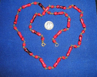Vintage Necklace Italian Venetian Red Black Glass 1950's Jewelry 2161