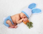 Fluffy Bunny Hat & Diaper Cover - Peter Cotton Tail - Baby Shower - Photo Prop - MADE TO ORDER