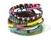 Bangles: Woven African bracelets, bangle set skinnies (adult size MED/LARGE)