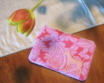 Pink Paisley Dog Zipper Pouch with Appliqued Pink Felt Puppy and White Satin Lining