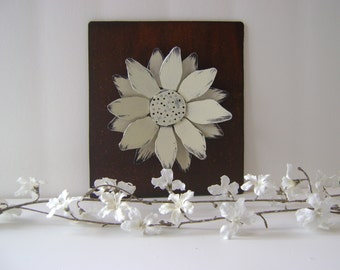Metal Sculptured Flower Wall Hanging, Metal Flower, Hand painted flower, white flower, rustic flower, layered flower