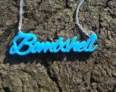 Bombshell Necklace - Pin Up Rockabilly Script Necklace - Blue Acrylic Plastic Pendant on Silver Plated Chain