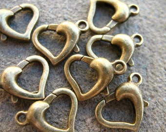 8 Bronze Heart Clasps Heart Shaped Lobster Clasps 12mm
