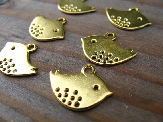 50 Gold Bird Charms 16mm Mod Birds