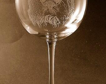 Etched English Toy Spaniel on Elegant Wine Glass (set of 2)