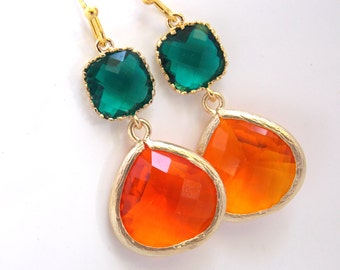 Orange Earrings, Emerald Green Earrings, Glass, Tangerine, Gold Earrings, Bridesmaid Earrings, Bridal Earrings Jewelry, Bridesmaid Gifts