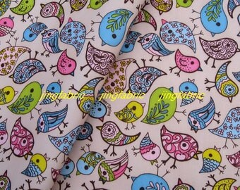 "W011E - Vinyl Waterproof Fabric - Lovely Birds - Light Yello Pink  - 27""x19""(70cmX50cm)"