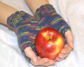 Knit Mittens, Blue Knit Mittens, Wool Mittens, Fingerless Mittens, Knit Gloves