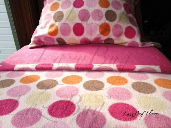 Pink Fleece Bed Set Toddler Crib Size Handmade Bedding 'Ice Creamy Dreams for Girls