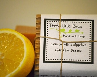 Lemon Eucalyptus Garden Scrub Soap with Pumice, Handmade, All Natural, Cold Process Soap, Vegan