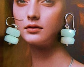 Real Aquamarine faceted rondelles earrings classic style on sterling silver  STUNNING HIGH QUALITY