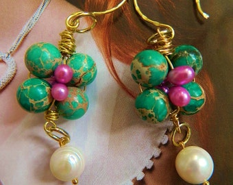 Kelly Green and cream Marbled Jasper beaded earring buds with sugar pink pearls and large cream pearls semi precious stones on hammered gold